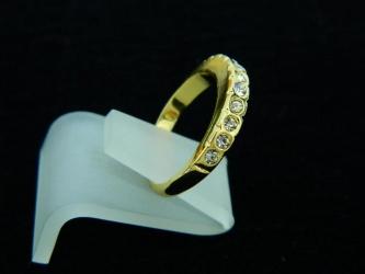 Detalhes do produto Anel Aliança com Cristais Aro 18 - Dourado